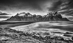 Vestrahorn in October (Nick L) Tags: stokksnes vestrahorn vesturhorn clouds rock plutonicgabbro sea water blackandwhite bw longexposure tonemapped canon 5d 5d3 eos 1635lii iceland southerniceland southeasticeland