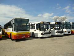 Volvo B10M line up (miledorcha) Tags: keenan coalhall ayr ayrshire scotland b3vol lsk844 l635ays m469asw m479asw lil9814 g340hsc volvo b10m van hool alizee stagecoach park wilson carnwath hamilton western buses alexander ps pstype line up coach coaches psv pcv school transport