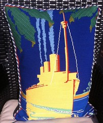 Night Cruise Needlepoint Pillow (victowood) Tags: needlepoint ehrman oceanliner handmade pillow