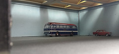After A Hard Days Work. (ManOfYorkshire) Tags: leyland royal tiger duple roadmaster coach bus model scale 176 oogauge diorama depot garage vauxhall viva diecast posed