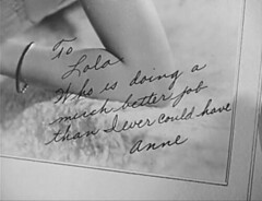 To Lola (annacarvergay) Tags: handwriting 1938 bracelet calligraphy namethatfilm cursive francesdrake