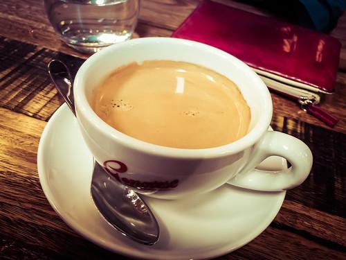 Long black coffee at Terzini Motore Caffe in South Yarra
