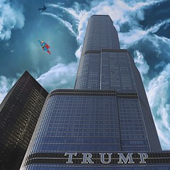 Heroes (ChicagoAintCool) Tags: city sky urban usa chicago clouds plane buildings design illinois midwest skyscrapers chitown superman trumptower superheroes donaldtrump trump cartoons edit