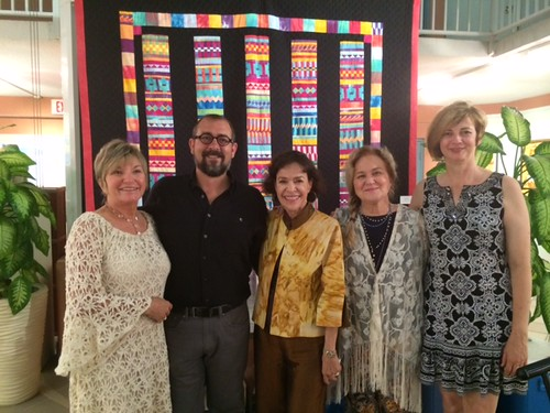 Artist Lynn Fecteau with husband Richard Carlson, artist Irene Munroe, gallery owner Teresa Sorrentino and Katrina  Boler at the opening of their work dedicated to the Barnacle Park in Coconut Grove