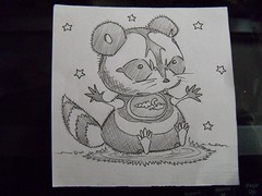 Baby Raccoon. (.*. ( ^^)) Tags: art pen pencil sketch drawing doodle