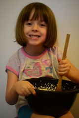 Mixing Sugar Cookie Batter (Vegan Butterfly) Tags: cute kitchen girl smile smiling baking kid vegan mix cookie child adorable spoon bowl sugar help mixing stir homeschool bake homeschooling helping stirring batter
