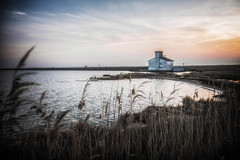 The Bay (valeria.cardinale) Tags: sunset italy house lake reed water landscape po emiliaromagna