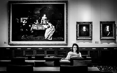 The Painted Audience (DobingDesign) Tags: newyorkcity blackandwhite usa art girl wall portraits table concentration wooden student audience chairs desk laptop newyorkpubliclibrary learning oilpaintings studying olivercromwell studyroom readinginpublic woodenpanelling thewallsarewatching