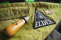 Behold the Elder! (all martn) Tags: sewing mtb elder patch speedy awl aufnher spok stitcher nhen framebag werks rahmentasche nhahle