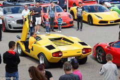 Backing up in a Lambo (aguswiss1) Tags: show yellow racecar switzerland parking continental ferrari banana lamborghini supercar bentley carshow countach lamborghinicountach speciale spectacle 458 488 gt3rs carscoffee carevent