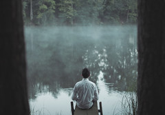 Awake (milanvopalensky) Tags: morning boy summer portrait selfportrait man male art me water fog self canon myself 50mm pond alone sitting sad czech mark surrealism fineart fine foggy surreal ii sit 5d conceptual between
