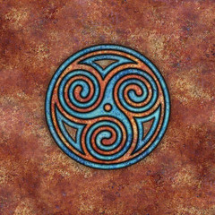 spirals (chrisinplymouth) Tags: spirality art pattern design spiral image whorl coil abstract cw69x artwork square symmetry curl triskele cw69sym symbol triskelion triplespiral celticspiral celtic rust trisquel geometric geometry cw69spiral