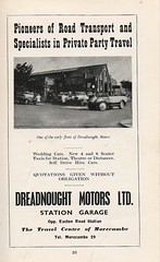 dreadnought flyer (morecambememories) Tags: morecambe flyer advert morecambememories dreadnoughtmotors garage partytravel