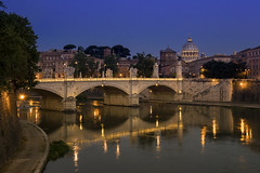 The View Over Vittorio Emanuele II (JH Images.co.uk) Tags: rome italy blue hour bridge morning vatican vittorio river water reflection sky dri hdr night dome basilica religion architecture roma
