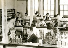 Chemistry lab in Science Hall (PUC Special Collections) Tags: laboratory lab pacificunioncollege chemistrydepartment chemistrylab chemistry beakers test tubes scientist labcoat experiments angwin california adventist sda seventhdayadventist college