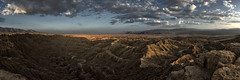 borrego badlands panorama (color). 2015. (eyetwist) Tags: eyetwistkevinballuff eyetwist panorama pano landscape sunset fontspoint borrego badlands desert viewpoint overlook vista 180° anzaborregodesert sonorandesert sonoran dry arid california lonely nikkor nikon d7000 nikond7000 1024mmf3545g 1024mm stitched panoramastitcher photoshop nik plugin processed postprocessed 180 color efex nikcolorefex contrast clouds cloudporn dusk storm american west anza fonts point canyon canyons rugged borregosprings saltonsea panoramic wide vast