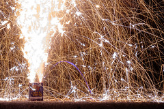 Particle Accelerator (-mtnoxx-) Tags: longexposure fountain fire 50mm energy dynamic fireworks trails burn 4thofjuly sparks particles embers