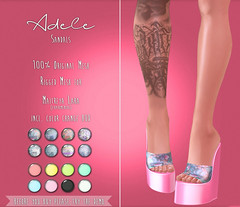 Adele Sandals @ The Black Dot Project (Deb3ie Resident) Tags: summer texture colors demo 3d shoes experimental mesh sandals events sl event secondlife prints hud adele exclusive materials rigged enabled maitreya secondllife theblackdotproject tbdp