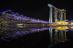 Helix Bridge (frankqxia) Tags: helix bridge marina bay sand reflection night architecture sinagpore asia cityscape sony a7 voigtlander voigtlaender 21mm f18 ultron