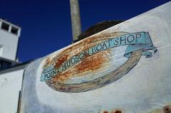 """Point Hudson Boat Shop"" (Eric Flexyourhead (shoulder injury, slow)) Tags: porttownsend jeffersoncounty wa washington usa pointhudson pointhudsonboatshop letterbox mailbox sign handpainted rust rusty sky clear blue deep cobalt shallowdepthoffield ricohgr"