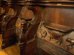The 14th century Misericords in the chapel of Winchester College (Anguskirk) Tags: hampshireukwinchester england collegechapel choirstalls misericords