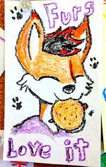 Foxy (e r j k . a m e r j k a) Tags: pennsylvania alleghney northfayette burgers drawing handmade furry whimsy fiveguys erjkprunczyk