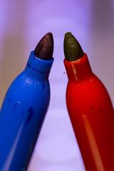 Pick a color... -[ HMM ]- >>Explored<< (Carbon Arc) Tags: macromondays ppep pen indelible permanent sharpie marker ink mark blue red color colour symbolism