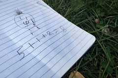 (257/366) Happy Math (CarusoPhoto) Tags: iphone 6 plus john caruso carusophoto photo day project 365 366 chicago humboldt park lost notebook math face draw found grass mundane banal everyday ordinary
