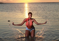 DP1U8704 (c0466art) Tags: lovely princess sao tome mayla pretty smile beautiful sunset momemt colorful golden sea reflection nice pose action weat africa small country outdoor portrait light canon 1dx c0466art