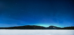 Les vents du nord (fredbeaupre) Tags: blue winter sky panorama white mountain lake snow canada color tree green ice nature water forest season landscape star photo nightscape quebec location québec northernlights auroraborealis parcnationaldelajacquescartier saintebrigittedelaval