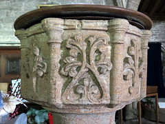 Early English font, the Church of St Mary, Weston, Lincolnshire, England (Spencer Means) Tags: churches medieval gothic mary lincolnshire england uk stone carving lincs middleages spencermeans hunkypunk earlyenglish font treeoflife eh englishheritage listed building gradei grade1 church