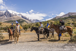 Horse riders Torres del Paine National Park. Chile