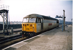 56032 Cardiff Central (British Rail 1980s and 1990s) Tags: britishrail br class56 cardiffcentral 56032 56 train rail railway station diesel loco locomotive freight railfreight 90s 1990s type5 nineties livery gwml greatwesternmainline wr westernregion mainline trains liveried traction railways