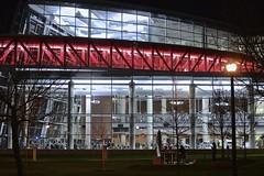 Red Stripe (tim.perdue) Tags: bridge columbus ohio red color glass architecture modern night dark campus lights university state contemporary stripe osu rpac