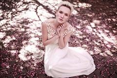 Valentina (lisahantke) Tags: shadow white girl beauty 35mm canon dress blonde cherryblossom 5dmark2
