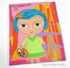 Painter Girl (JoMo (peaceofpi)) Tags: canada thread girl folkart sewing fabric painter bluehair palette easel artjournal artquilt miniquilt rawedge stitchedcollage peaceofpi