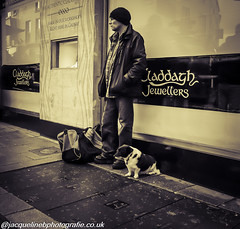 alone again..naturally (drjacquebaxter) Tags: street man dog galway ireland eire irish