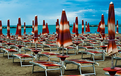 waiting for the customers (madmtbmax) Tags: blue red sea sky italy beach sand empty rimini adriatic cesenatico vivdstriking