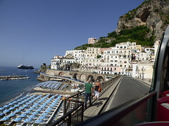 Tourist bus - to Amalfi (Sand-dancer) Tags: sea amalfi parasols sunbeds touristbuss