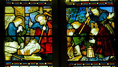 Much Marcle Herefordshire - Chancel - Nativity (David Cronin) Tags: muchmarcle herefordshire bartholomew saintbartholomew stained glass stainedglass kempe cekempe nativity shepherds bagpipes