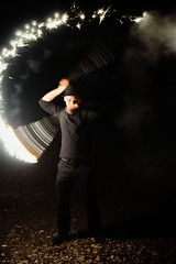 Sparks (Derbeth) Tags: flare distressflare spark fire juggling night d5000 motion blur