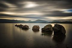 Golden Dark Sunset (Milarrochy Bay) (Uillihans Dias) Tags: green milarrochybay scotland lochlomond uk britain sunset landscape reflection