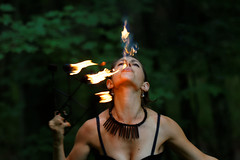 Breathing fire (aleadam) Tags: portrait woman fire circus theater 7dwf