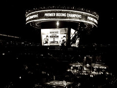 Boxing in NYC-Then,Now (Brooklyn-Barclays Center) (Robert S. Photography) Tags: nyc history sepia brooklyn canon vintage crowd atlanticavenue powershot arena saturdaynight boxing mainevent 2015 sugarrayrobinson jakelamotta barclayscenter a3400 garciavspeterson leevsquillin