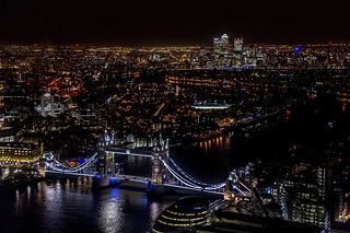 Tower Bridge and the Docklands at night