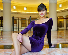 That Dress You're Wearing... (DigitalLUX) Tags: portrait woman girl smile face hair eyes colorful pretty dress purple arms legs body young lips