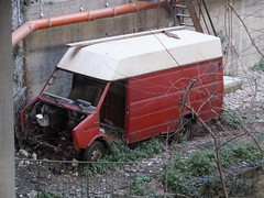 Daily (stevenbrandist) Tags: italy italia debris railway daily genoa genova forgotten van stripped iveco travelogue sampierdarena