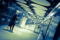On my way. (Rhythm+Booze) Tags: blue monochrome silver airport 28mm traveller 28 londonheathrow nikond750