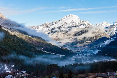 Vue sur le Jorat à gauche et le Mont Chauffé à droite