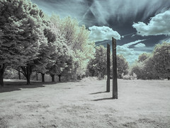 Hilly Fields Park. (blackwoodse6) Tags: park uk blue trees england white london clouds canon ir standingstones lewisham infrared foilage southlondon stonecircles brockley southeastlondon hillyfieldspark se13 se4 canong10